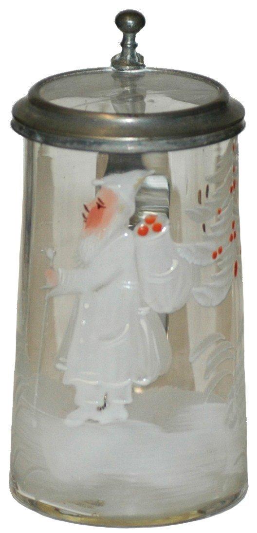 4: Glass Mini Stein w Enamel Santa Claus