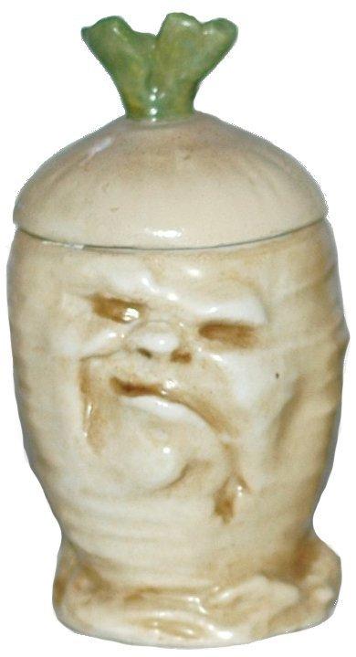 "6: Schierholz Porcelain Sad Radish 3-1/2"" Mustard Pot"