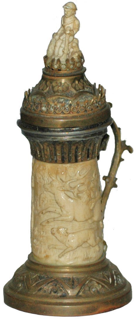 16: Carved Ivory Stein.  Hunting dogs & Stags. Brass