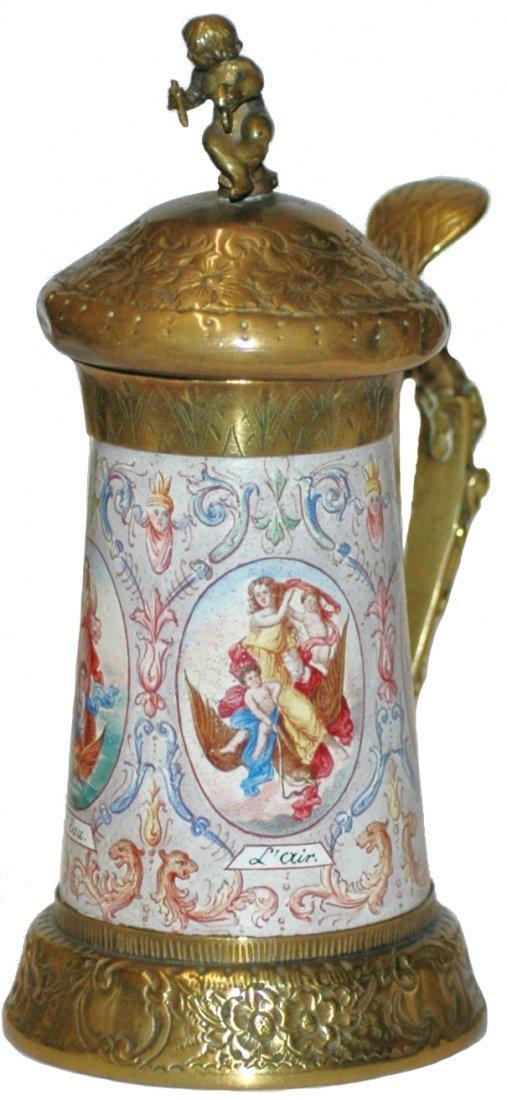 17: Viennese Enamel Romanesque Women Stein
