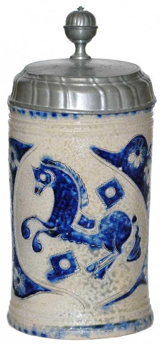 93 Westerwald Stoneware Stein Horse Scratch Design