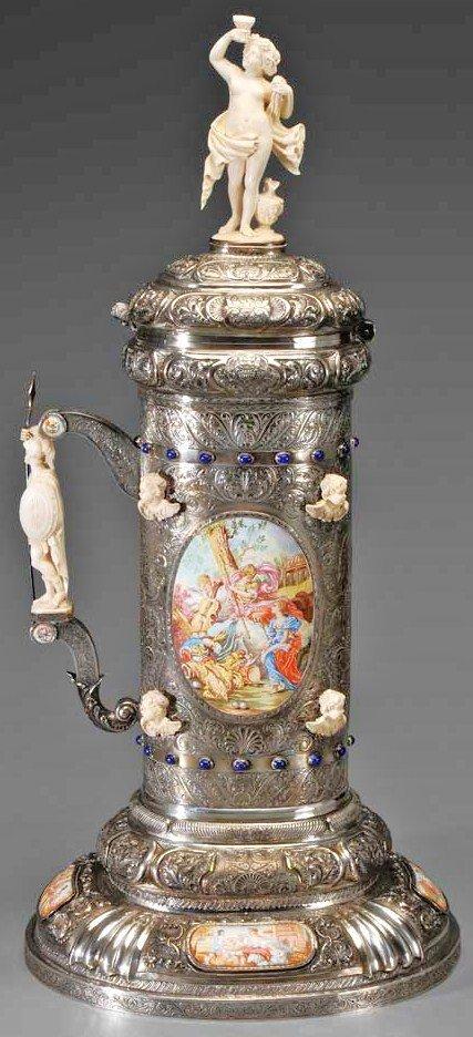 297: HUGE Silver Ivory Lapiz & Viennese Enamel Tankard