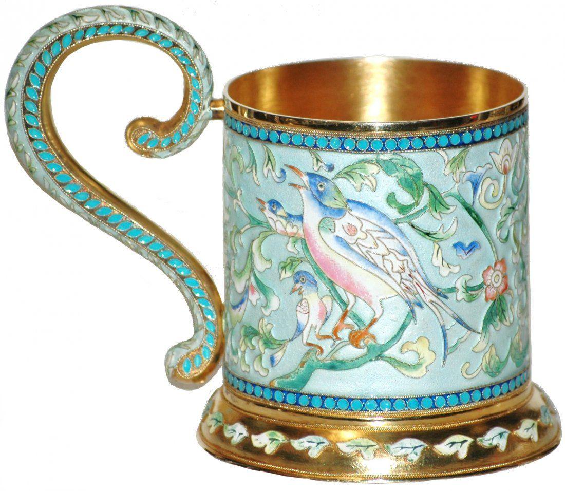 298: Russian Enamel Pavel Ovchinnikov Silver  Ca 1890