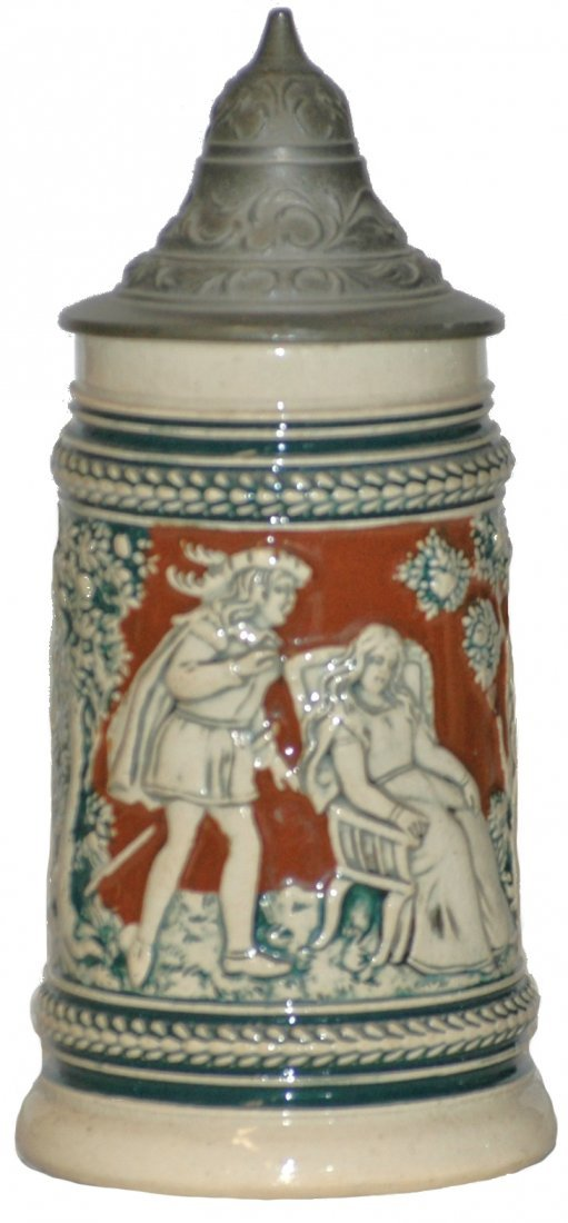 2: Miniature 1/8 L. Pottery Relief Stein