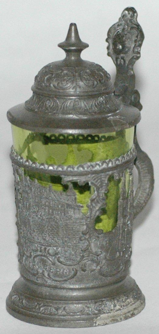 Mini Pewter & Glass Nurnberg Scene Stein