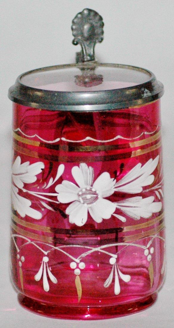 Cranberry Enamel Glass Stein w Inlay