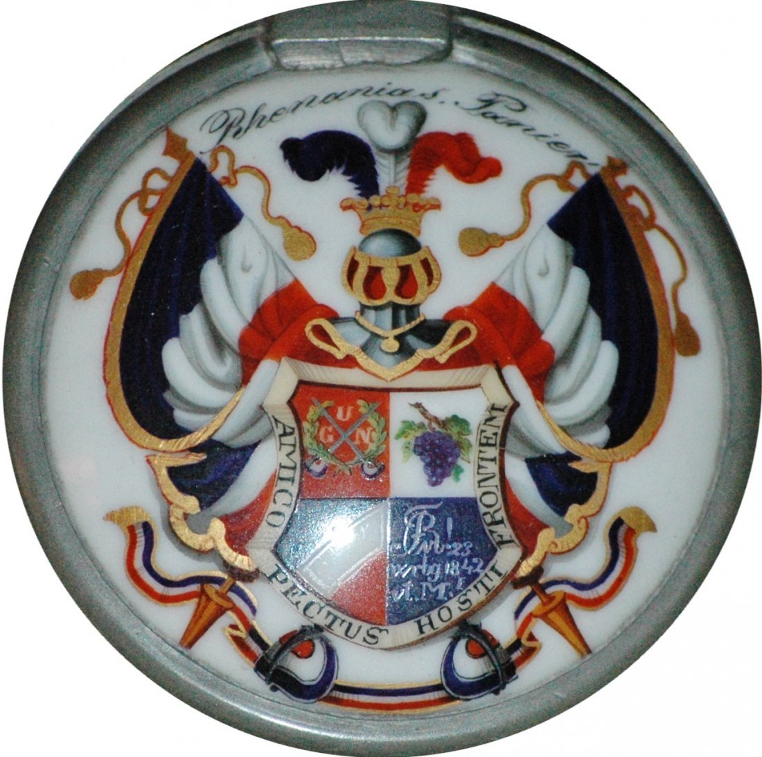 Student Shield w Inscription Inlay on Glass Stein