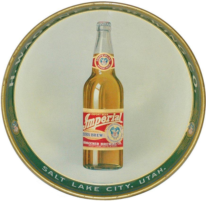 Wagener Brewing Utah Tin Litho Beer Tray