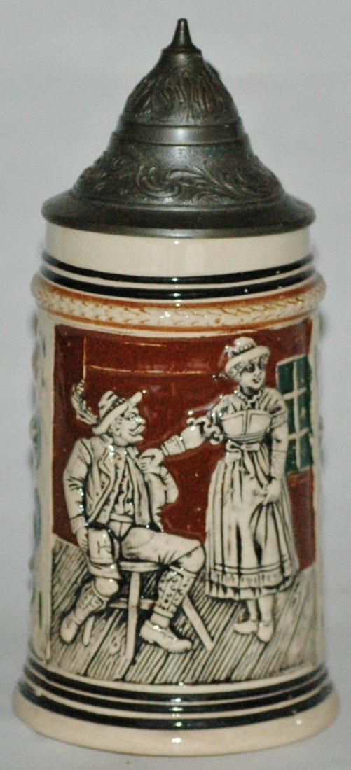 Alpine Man & Barmaid Miniature Relief Stein