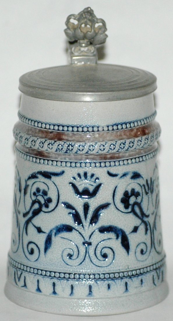 Floral Etched Miniature Stoneware Stein