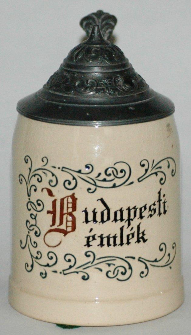 "Floral & ""Budapest Emlek"" Etched 1/8L Stein"