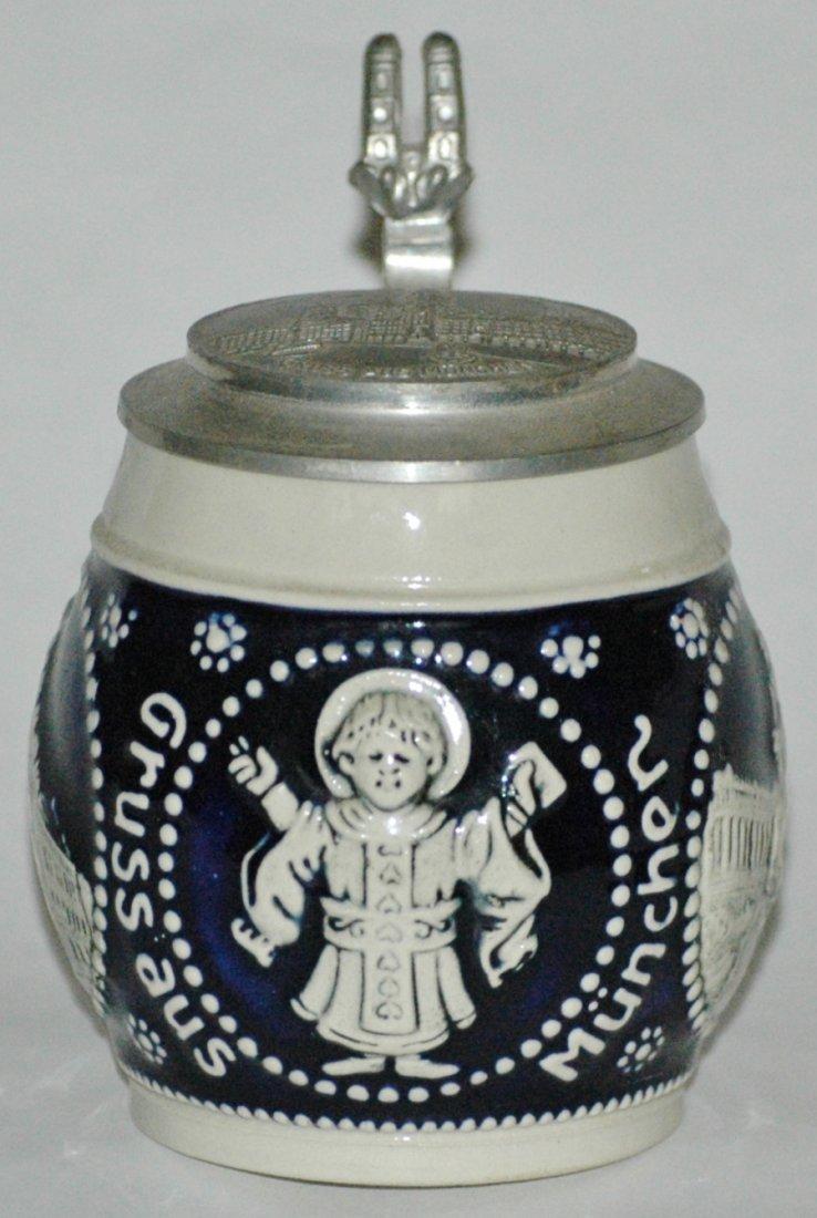 Munich Child w/ Monuments Stoneware 1/8L Stein