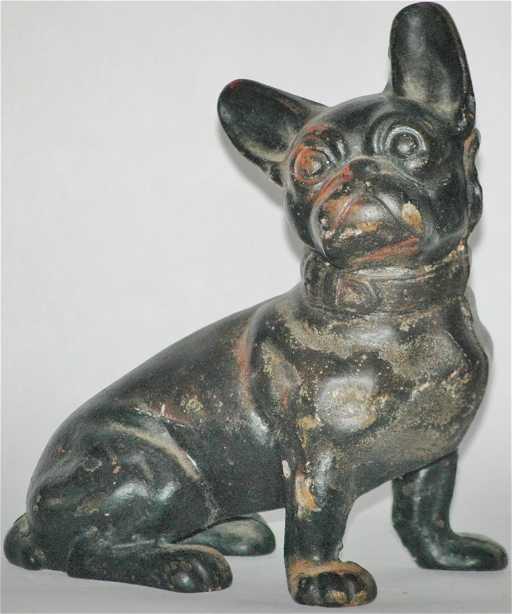 - Vintage Painted Cast Iron Pug Dog Door Stop