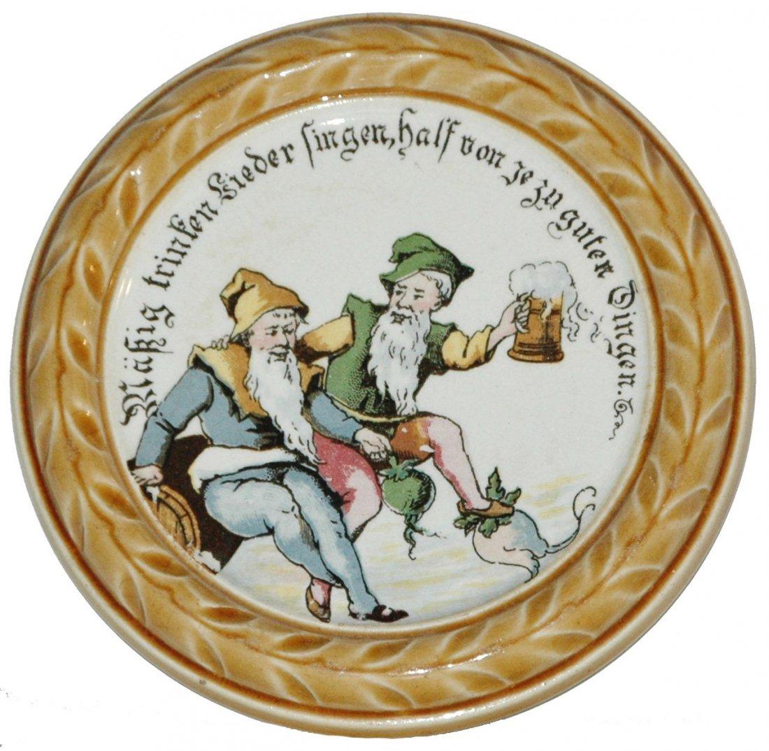Mettlach Coaster of Drinking Dwarfs