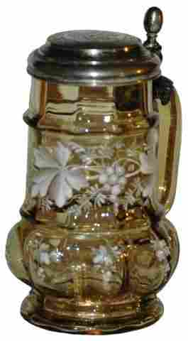 Blown Amber Glass w White Enamel Floral design
