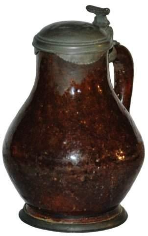 Circa 1700 Brown Hafnerware 1/4 L. Stein