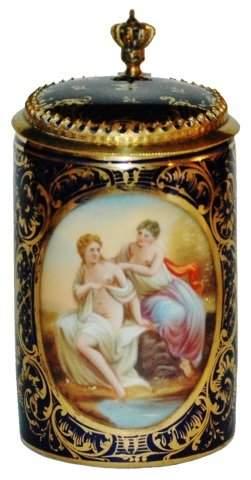1/8 L. Royal Vienna Semi Nude Woman Stein w Brass