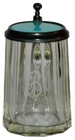 Miniature 1/16 L. Blown Glass Fluted Stein w Inlay