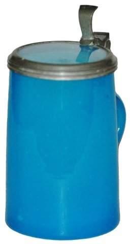 Blue Opaline Glass Mini Stein Circa 1860 w Inlay