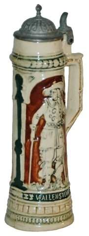 Miniature Cavaliers Pottery Relief Stein