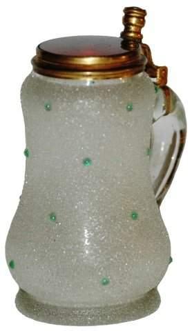 Crackle Ruby Glass Miniature 1/10 L. Stein w beads