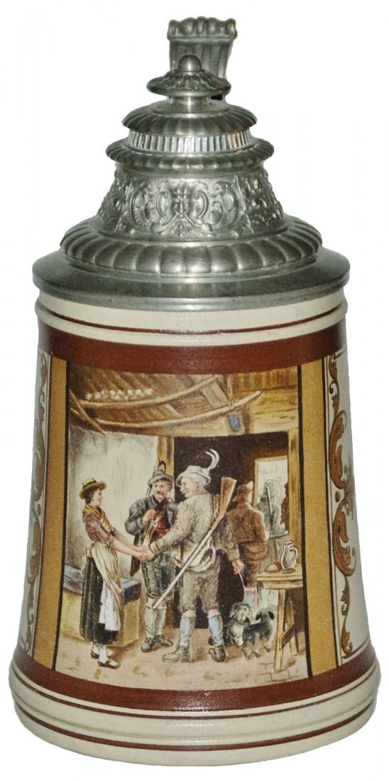 August Saeltzer Hand Painted Hunters & Maid Stein