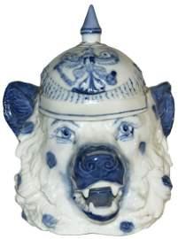 Rare Blue Schierholz Bear w Spiked Helmet Stein