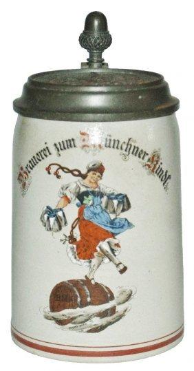 Stoneware Brewery Stein W Munich Maid & Logo Lid