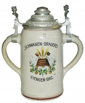 Double Handle & Lid Schwanen Brewery 3l Stein