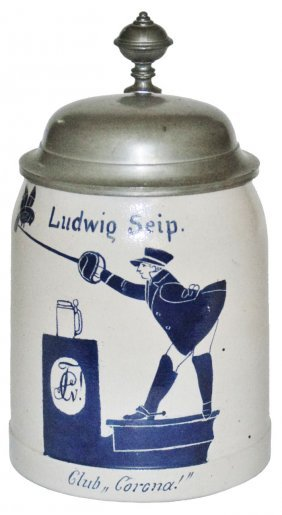 Dueling Student Ludwig Seip Stoneware Stein