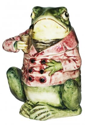 Pipe Smoking Frog Austrian Majolica Tobacco Jar