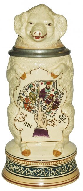 Pig W Suites Of Playing Cards Character Stein