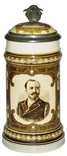 """Anheuser Busch Brewery Mettlach Stein """"a"""" Logo Lid"""