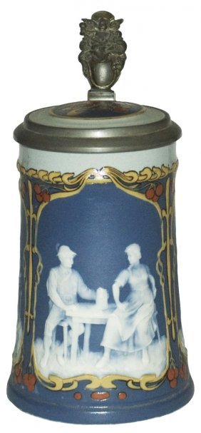 Art Nouveau Mettlach Cameo Couples Stein W Inlay