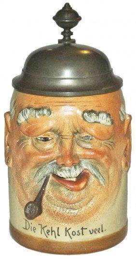Man Smoking Pipe Character Head Stein