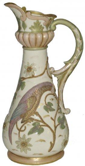 Bird & Floral English Porcelain Fancy Pitcher
