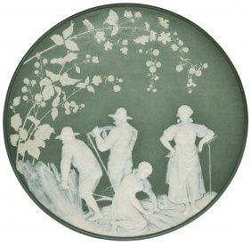 Pair - Mettlach Cameo Plaques Farmers Work & Dance