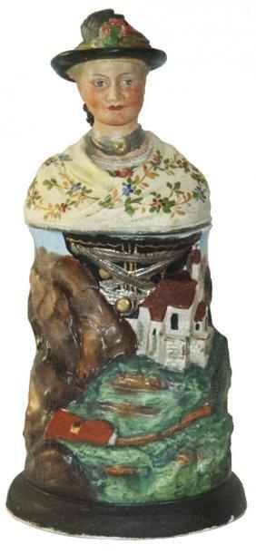 Alpine Woman Teacher Porcelain Character Stein