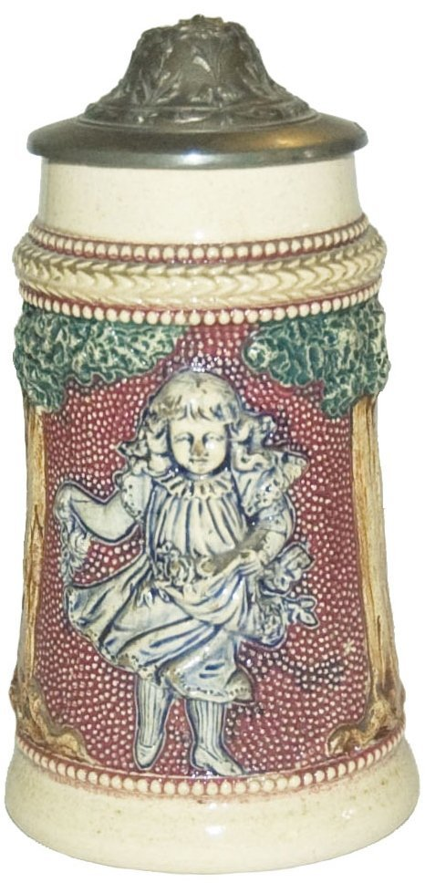Diesinger Small Girl 1/8L Pottery Relief Stein