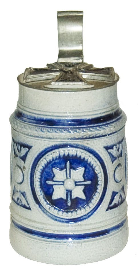Iron Cross Lid on Floral Decorated Stoneware Stein
