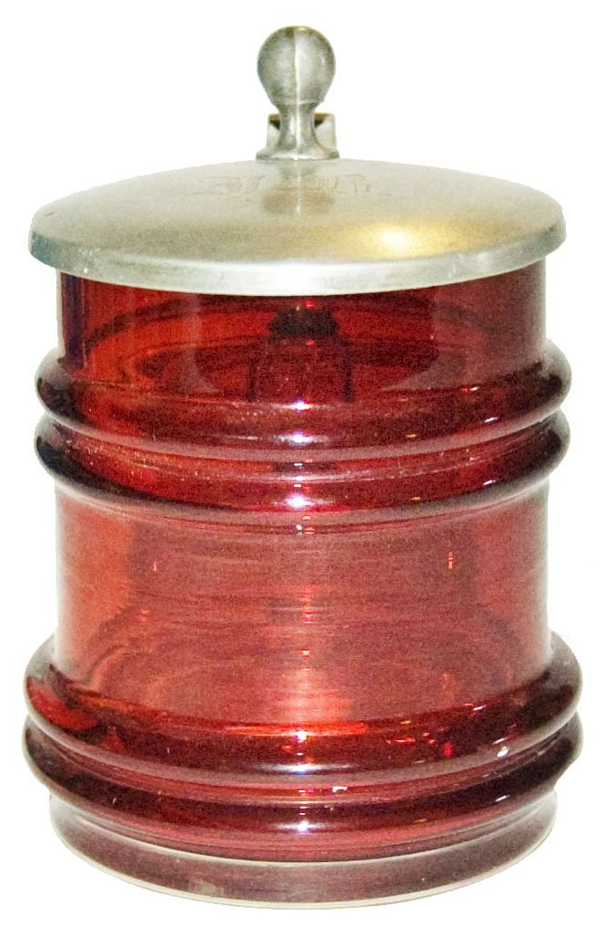Ruby Ribbed Blown Glass 1/8L Stein