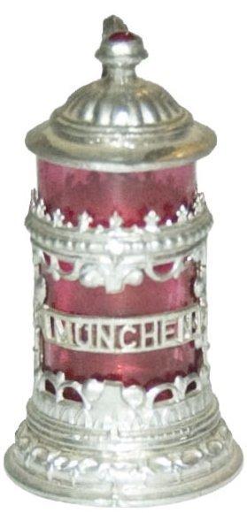 """""""Munchen""""  Pewter & Ruby Glass Mini 1-1/4 """" Stein"""
