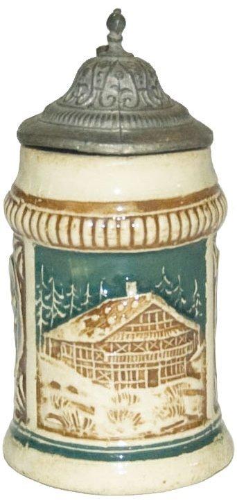 """Chalet & Alpine Couple 3"""" Mini Relief Stein"""