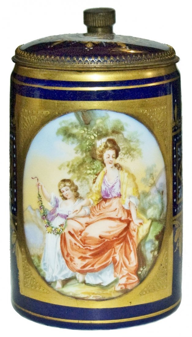 Royal Vienna 1/4L Stein w Brass Mounts & Inlay Lid