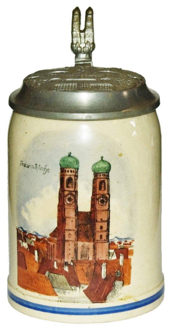 Munich Church 1/4L Stein w Munich Lid