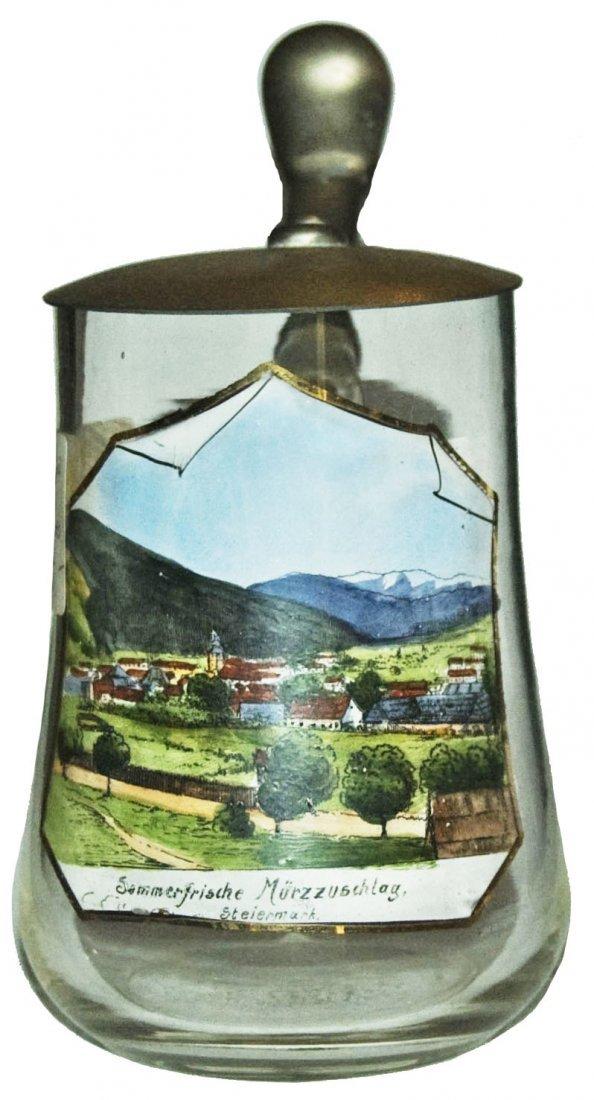 Enameled town scene on Blown Glass 1/4L Stein