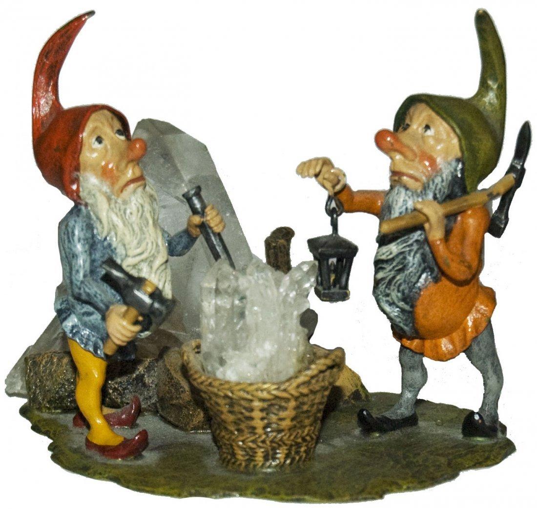 Dwarf Miners Vienna Bronze Figure w Quartz Rock