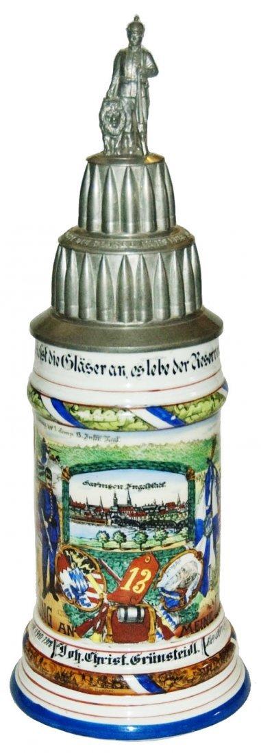 Inft Regimental Stein Rare Stacked Bullet Lid