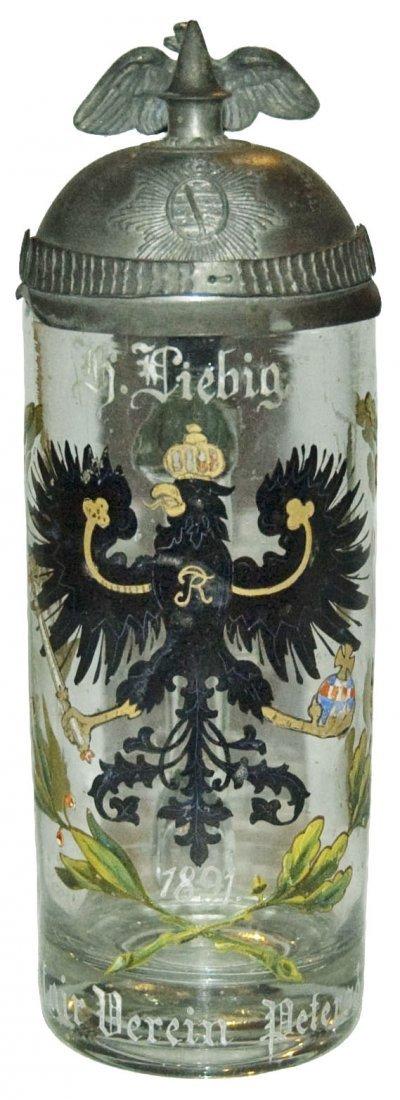 Helmet Lid Prussian Eagle Glass Military Stein