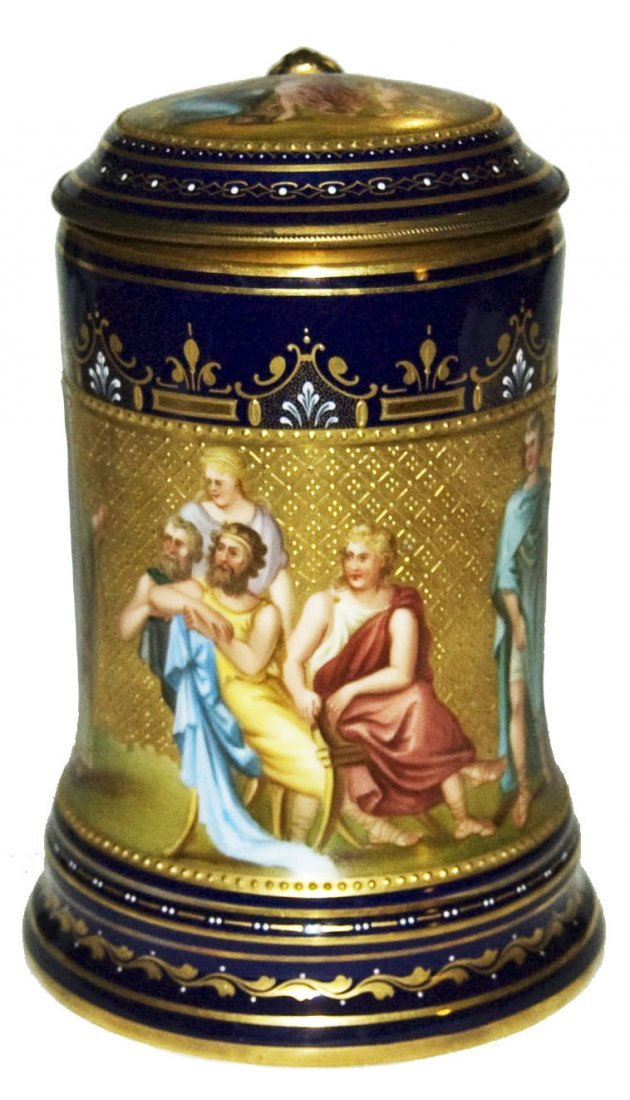 1L Gilded Royal Vienna hp Romans Painted Lid Brass